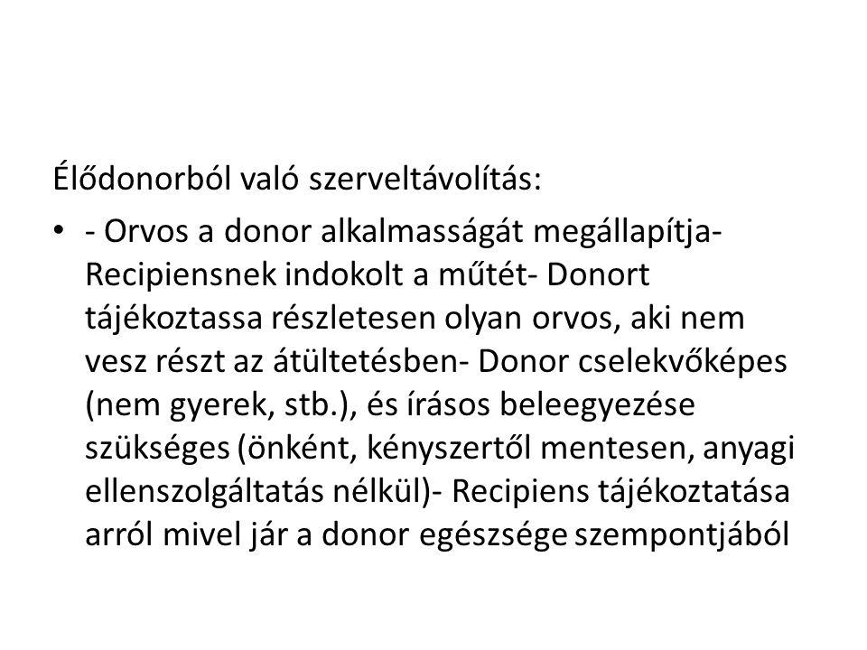 Élődonorból való szerveltávolítás: