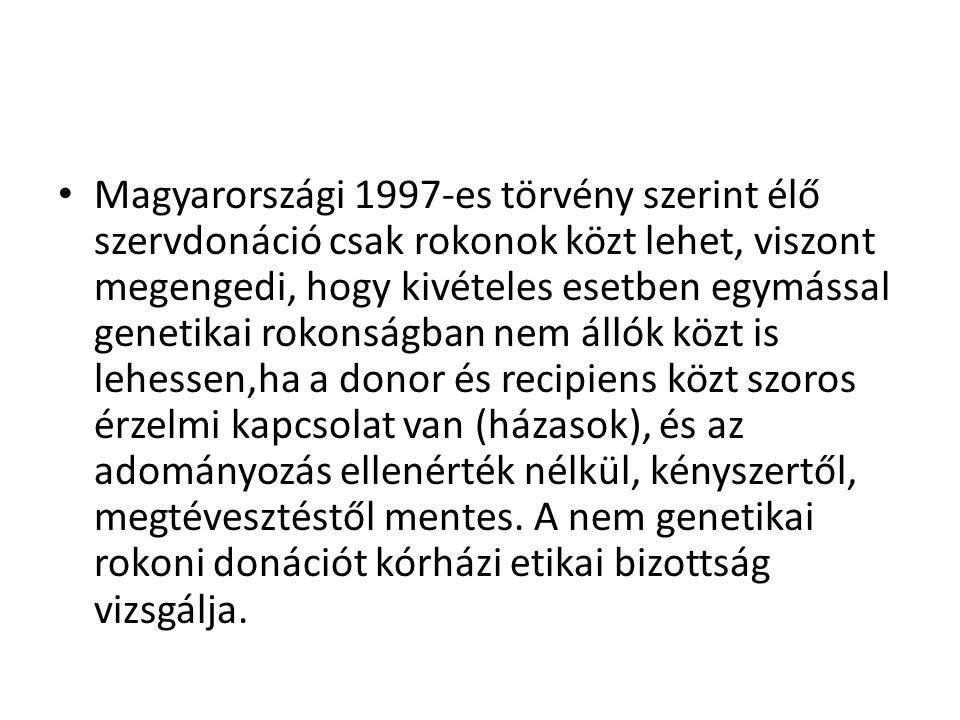 Magyarországi 1997-es törvény szerint élő szervdonáció csak rokonok közt lehet, viszont megengedi, hogy kivételes esetben egymással genetikai rokonságban nem állók közt is lehessen,ha a donor és recipiens közt szoros érzelmi kapcsolat van (házasok), és az adományozás ellenérték nélkül, kényszertől, megtévesztéstől mentes.