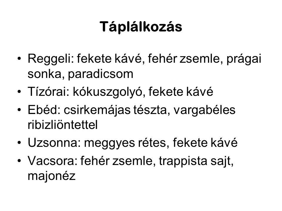 Táplálkozás Reggeli: fekete kávé, fehér zsemle, prágai sonka, paradicsom. Tízórai: kókuszgolyó, fekete kávé.
