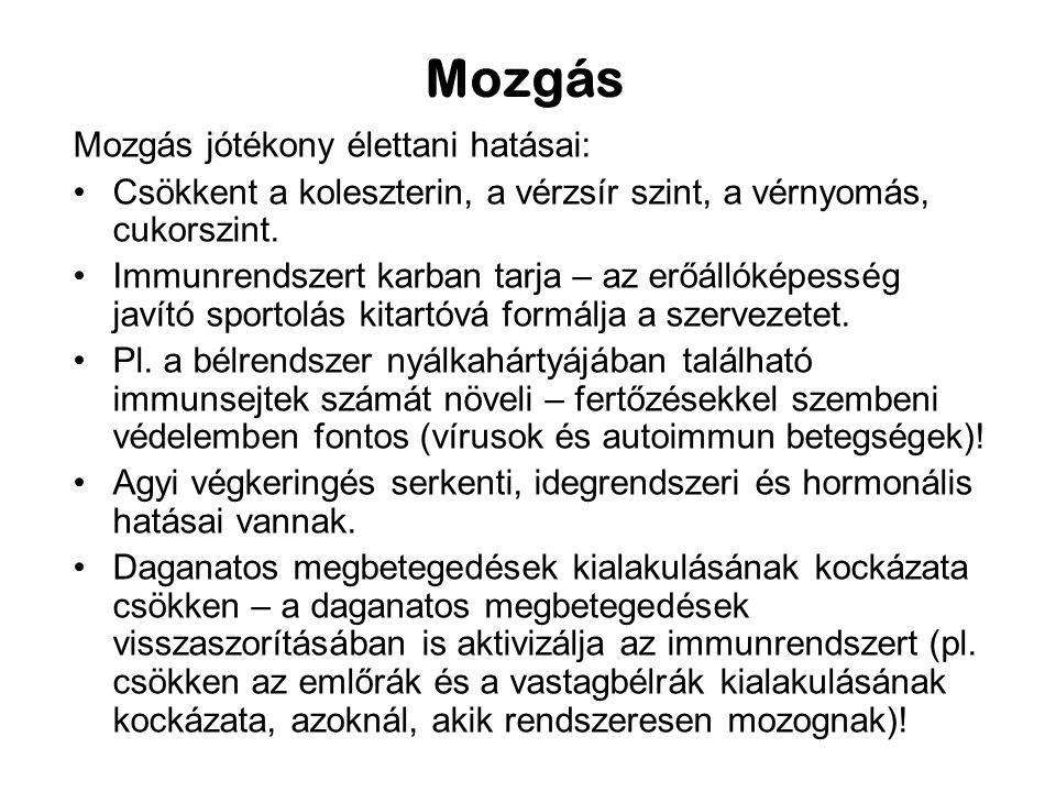 Mozgás Mozgás jótékony élettani hatásai:
