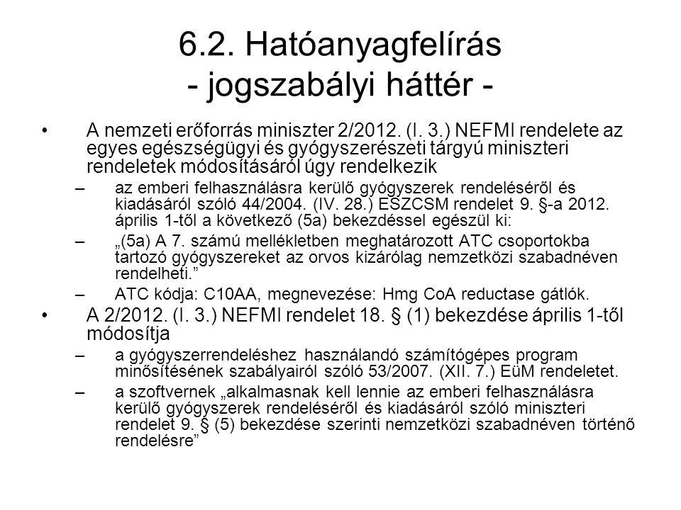 6.2. Hatóanyagfelírás - jogszabályi háttér -
