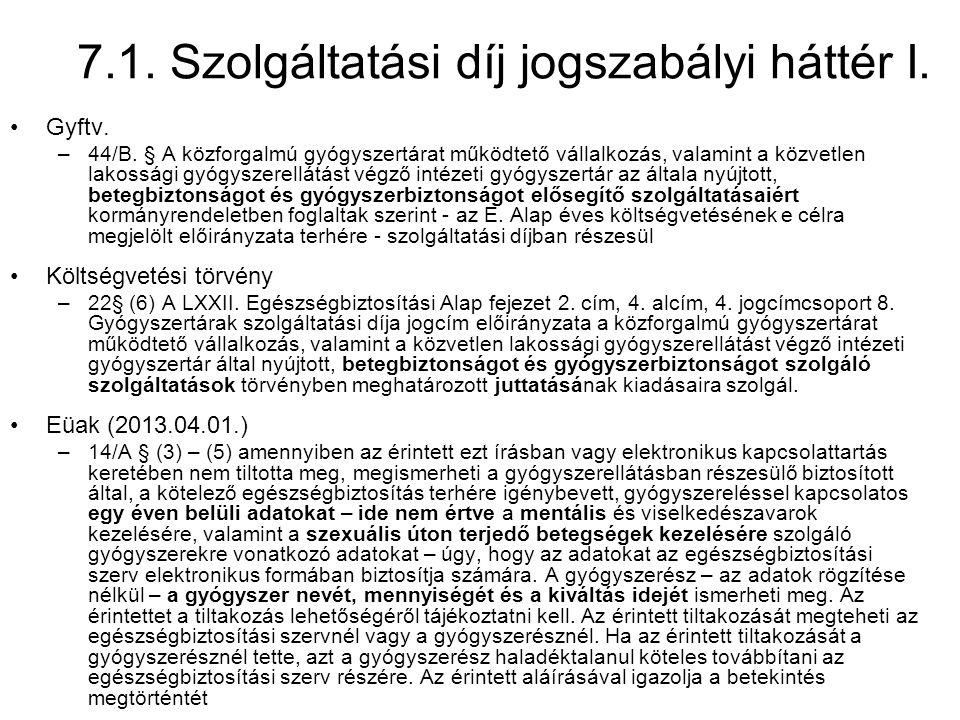 7.1. Szolgáltatási díj jogszabályi háttér I.