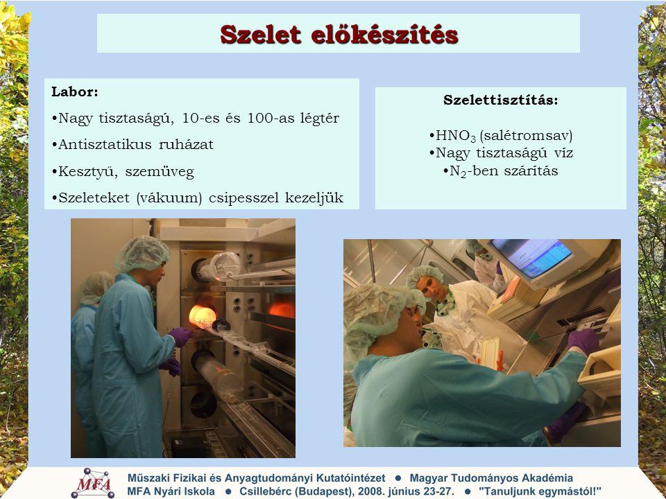 Szelet előkészítés Labor: Nagy tisztaságú, 10-es és 100-as légtér