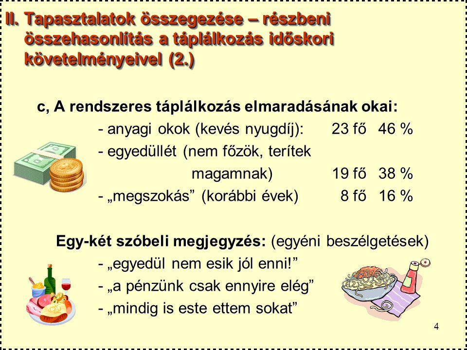 II. Tapasztalatok összegezése – részbeni összehasonlítás a táplálkozás időskori követelményeivel (2.)