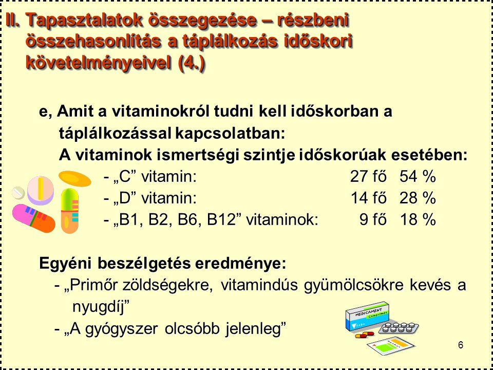 II. Tapasztalatok összegezése – részbeni összehasonlítás a táplálkozás időskori követelményeivel (4.)