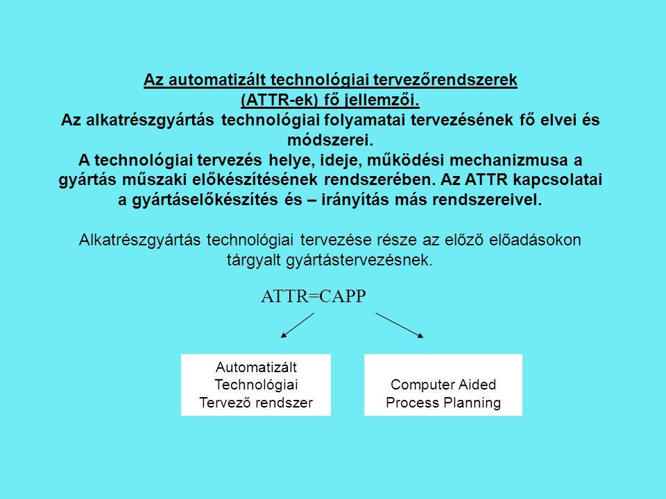 ATTR=CAPP Az automatizált technológiai tervezőrendszerek