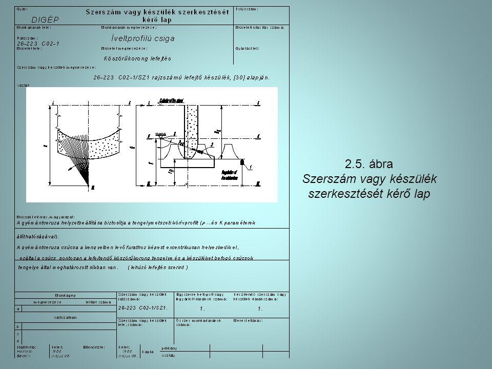 Szerszám vagy készülék szerkesztését kérő lap