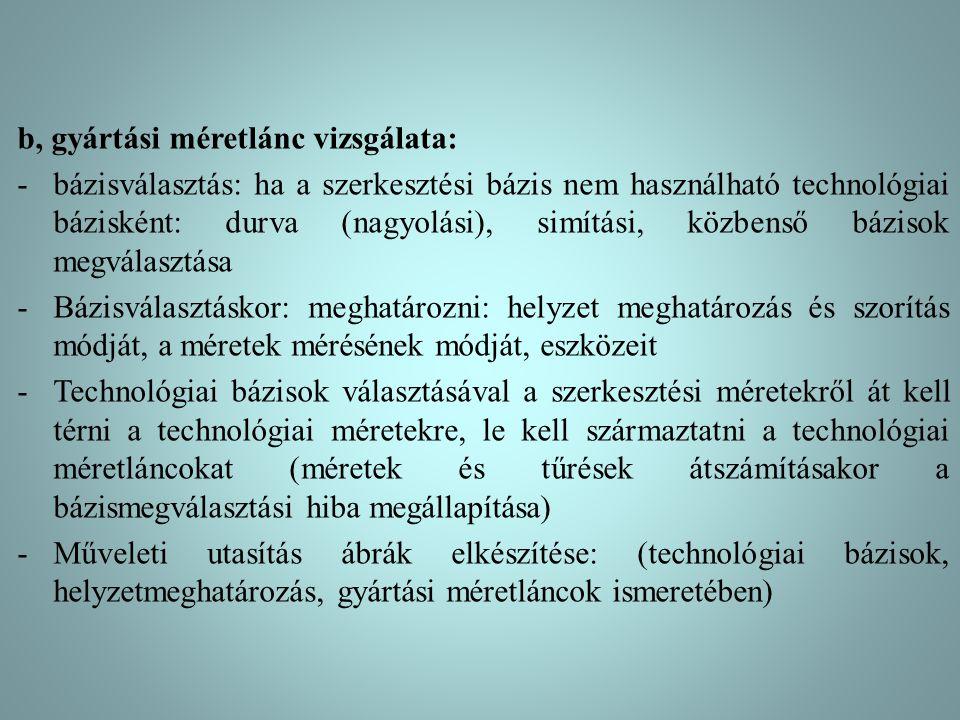b, gyártási méretlánc vizsgálata: