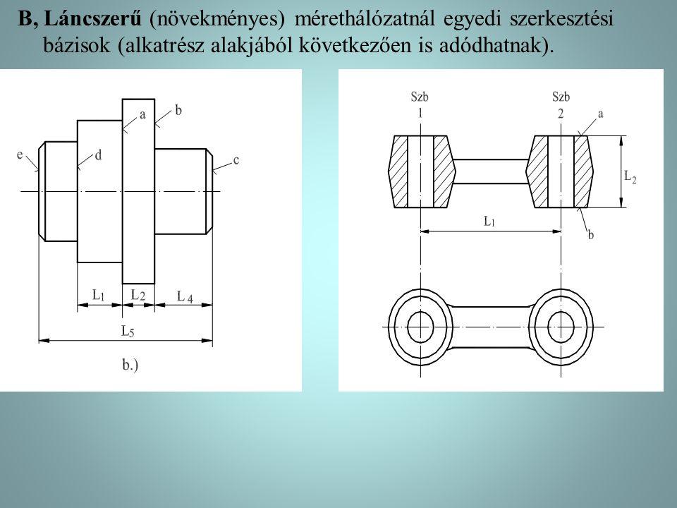 B, Láncszerű (növekményes) mérethálózatnál egyedi szerkesztési bázisok (alkatrész alakjából következően is adódhatnak).