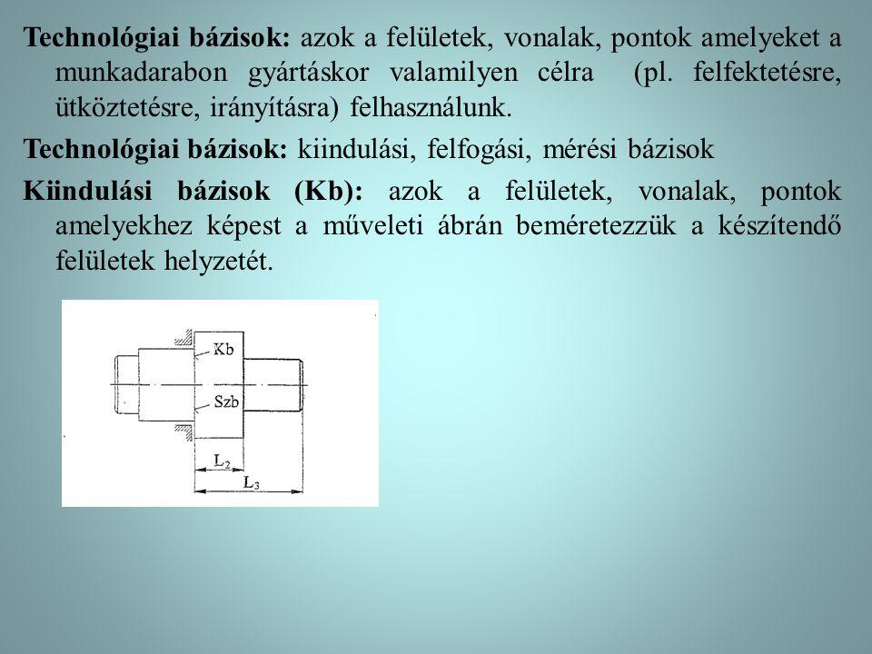 Technológiai bázisok: azok a felületek, vonalak, pontok amelyeket a munkadarabon gyártáskor valamilyen célra (pl.
