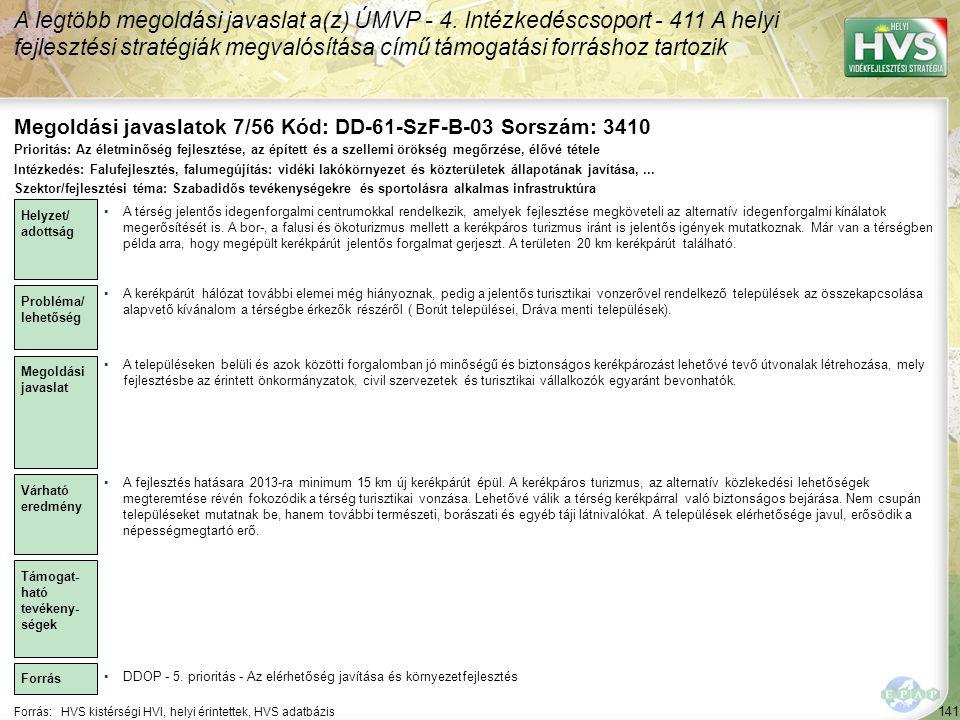 Megoldási javaslatok 7/56 Kód: DD-61-SzF-B-03 Sorszám: 3410