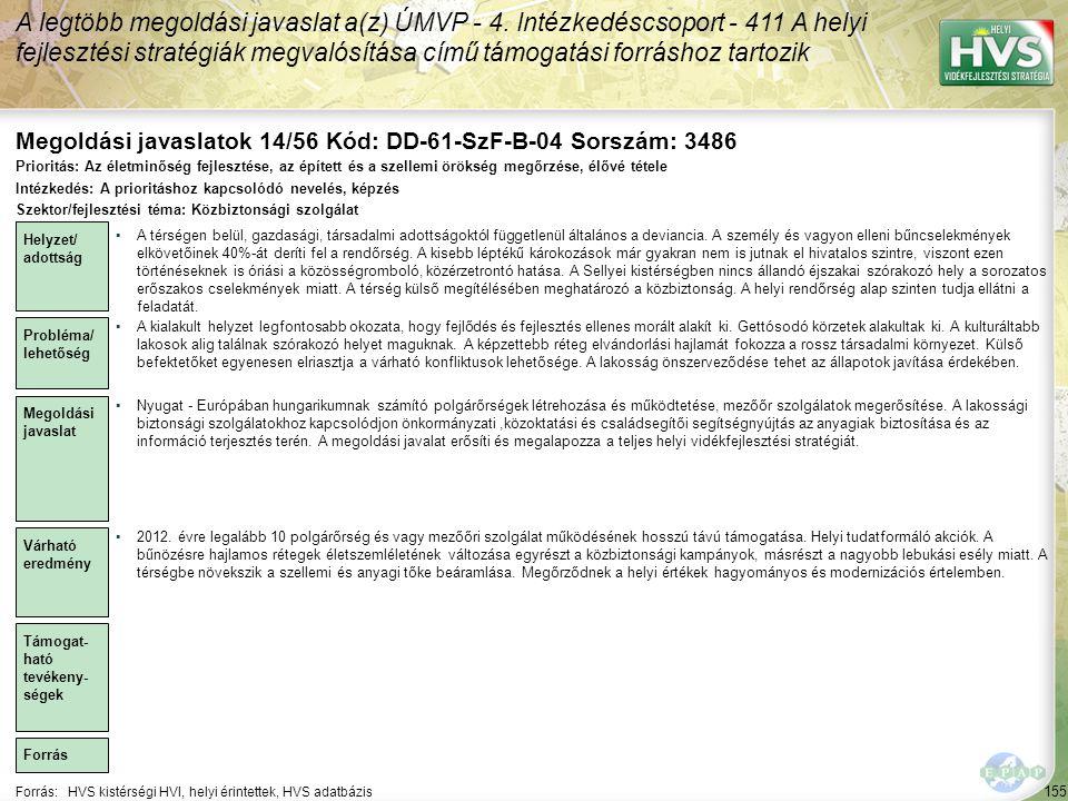 Megoldási javaslatok 14/56 Kód: DD-61-SzF-B-04 Sorszám: 3486