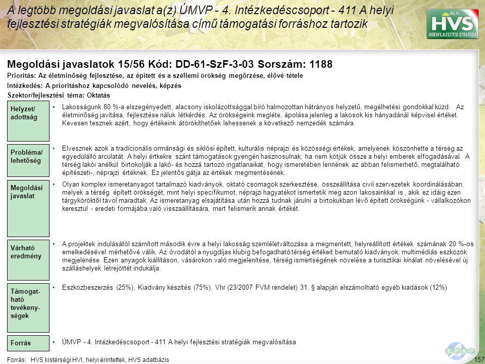 Megoldási javaslatok 15/56 Kód: DD-61-SzF-3-03 Sorszám: 1188