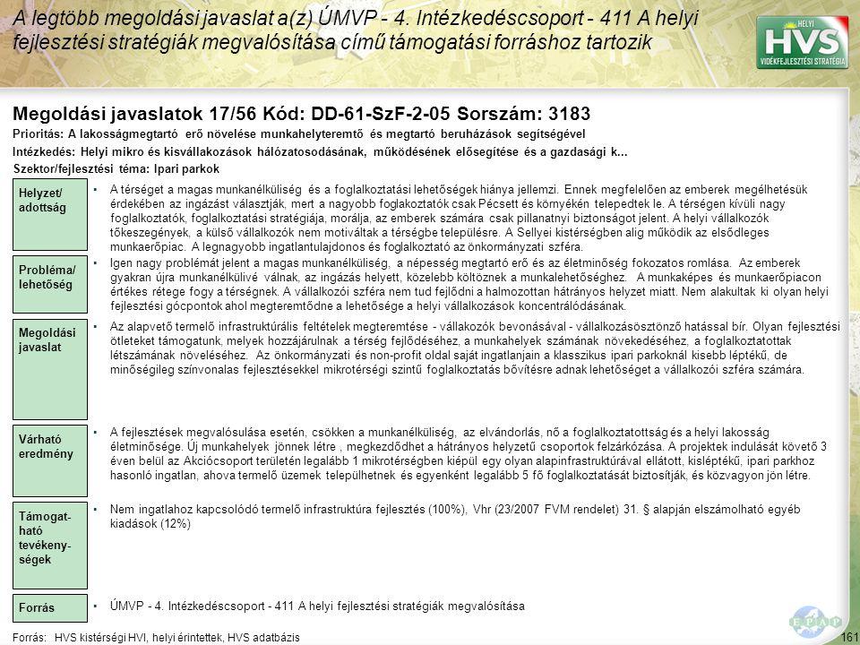 Megoldási javaslatok 17/56 Kód: DD-61-SzF-2-05 Sorszám: 3183