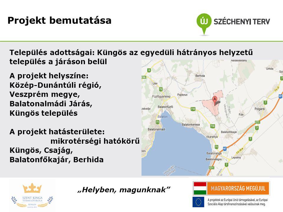 Projekt bemutatása Település adottságai: Küngös az egyedüli hátrányos helyzetű. település a járáson belül.
