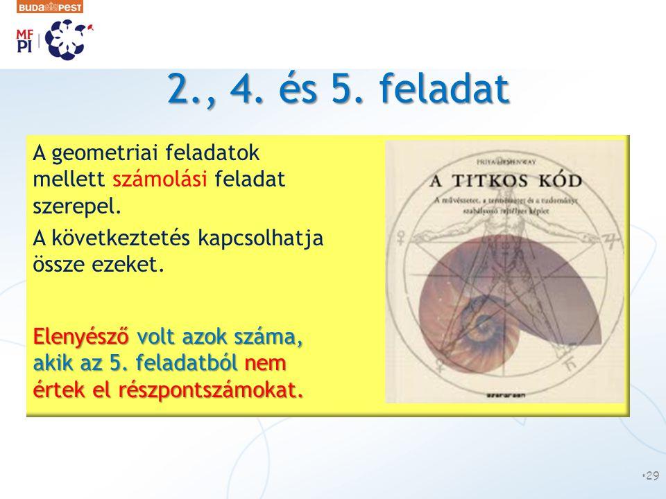 2., 4. és 5. feladat A geometriai feladatok mellett számolási feladat szerepel. A következtetés kapcsolhatja össze ezeket.