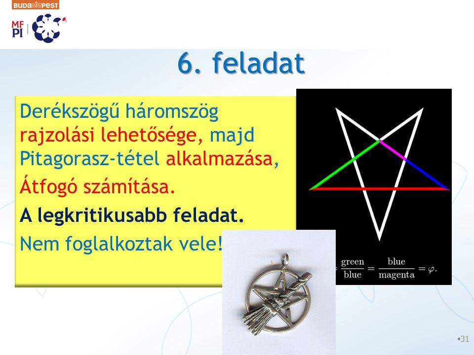 6. feladat Derékszögű háromszög rajzolási lehetősége, majd Pitagorasz-tétel alkalmazása, Átfogó számítása.