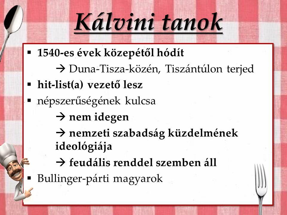 Kálvini tanok 1540-es évek közepétől hódít