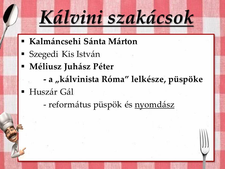 Kálvini szakácsok Kalmáncsehi Sánta Márton Szegedi Kis István