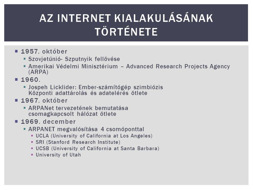Az internet kialakulásának története