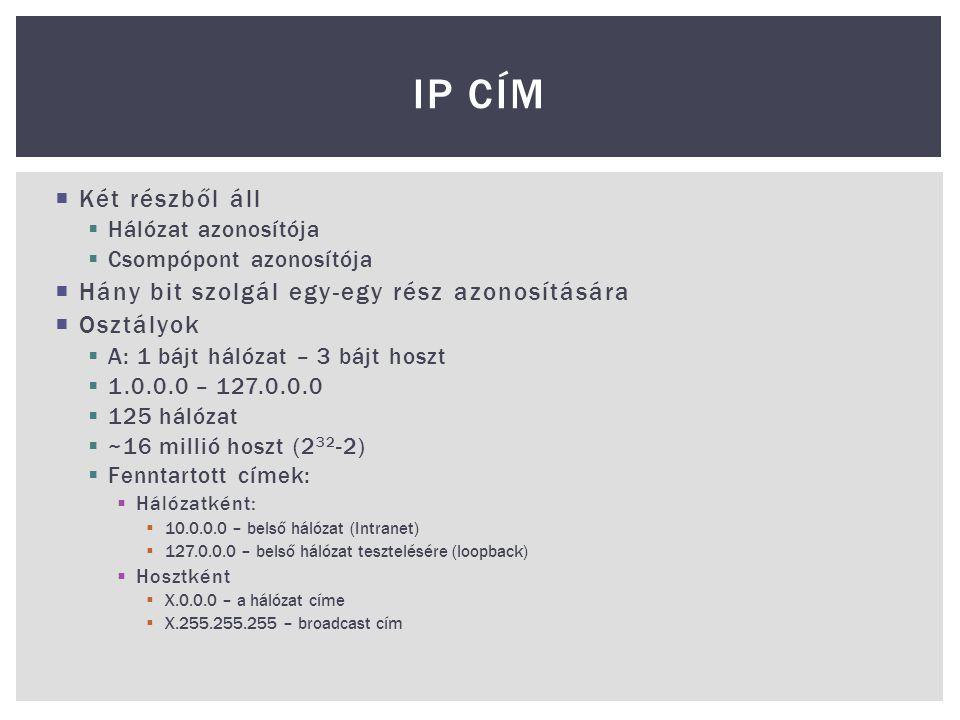 IP Cím Két részből áll Hány bit szolgál egy-egy rész azonosítására