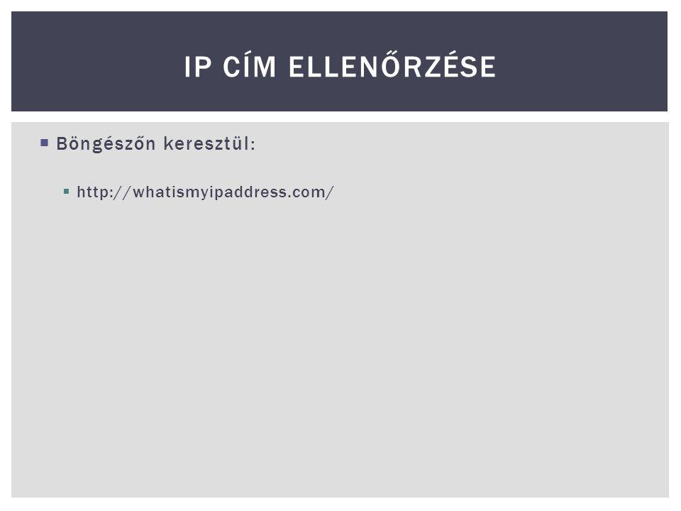 IP cím ellenőrzése Böngészőn keresztül: http://whatismyipaddress.com/