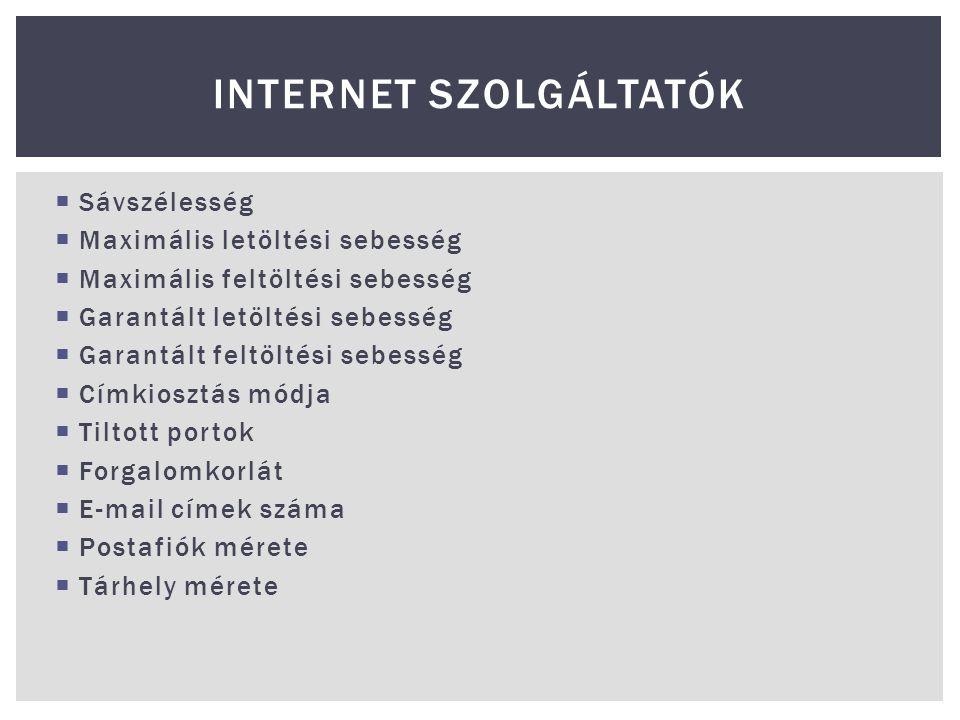 Internet szolgáltatók