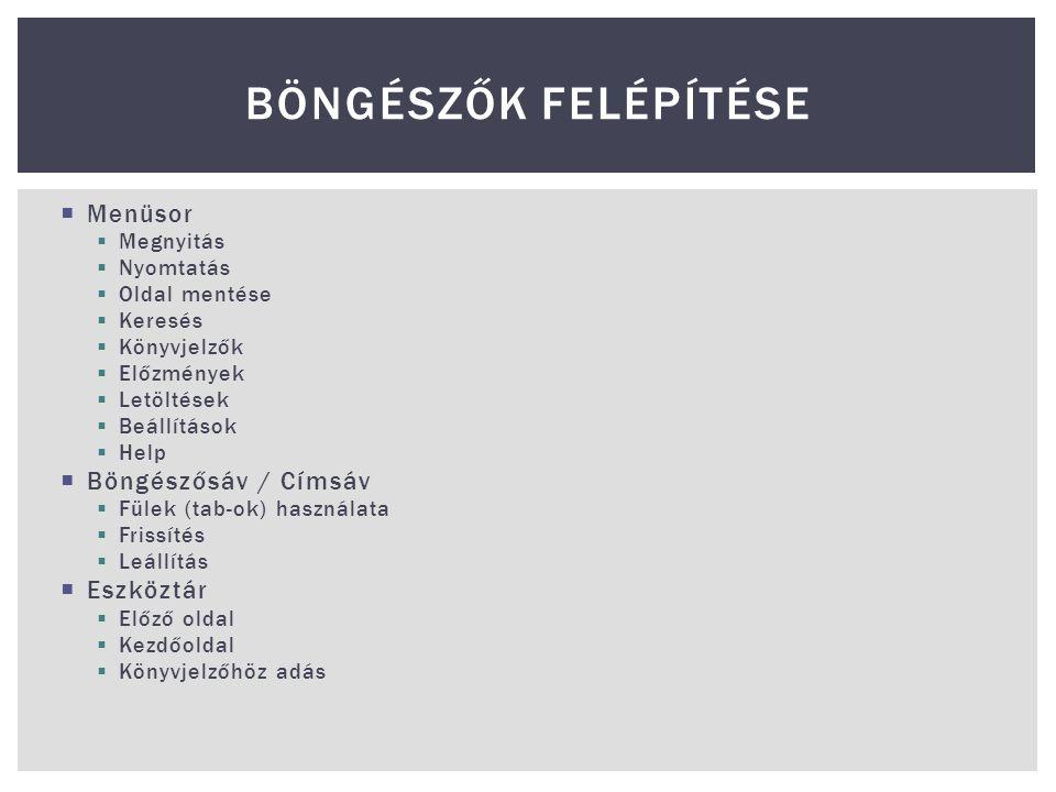 Böngészők Felépítése Menüsor Böngészősáv / Címsáv Eszköztár Megnyitás
