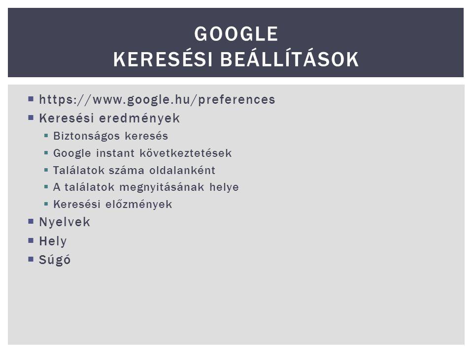 Google keresési beállítások