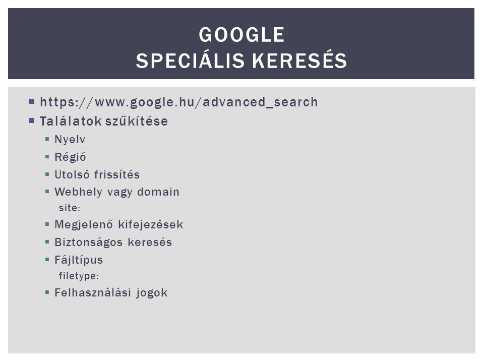 Google Speciális keresés