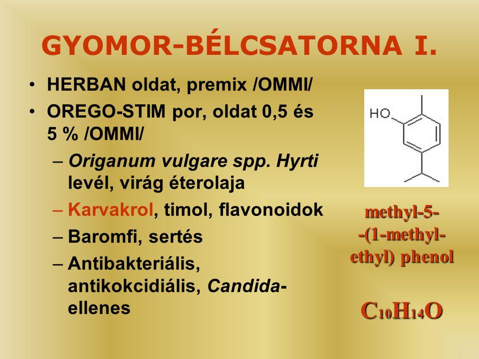 GYOMOR-BÉLCSATORNA I. C10H14O HERBAN oldat, premix /OMMI/