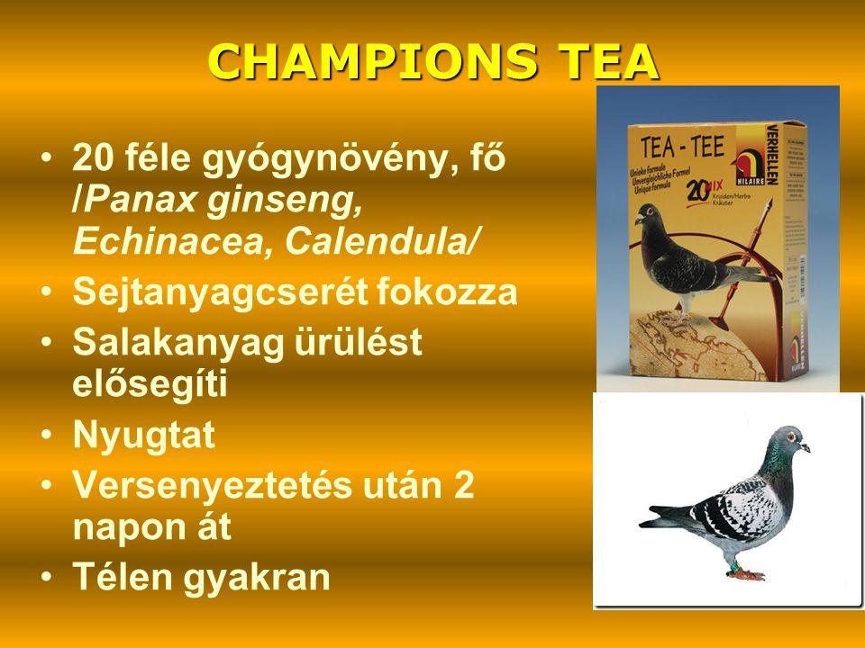 CHAMPIONS TEA 20 féle gyógynövény, fő /Panax ginseng, Echinacea, Calendula/ Sejtanyagcserét fokozza.