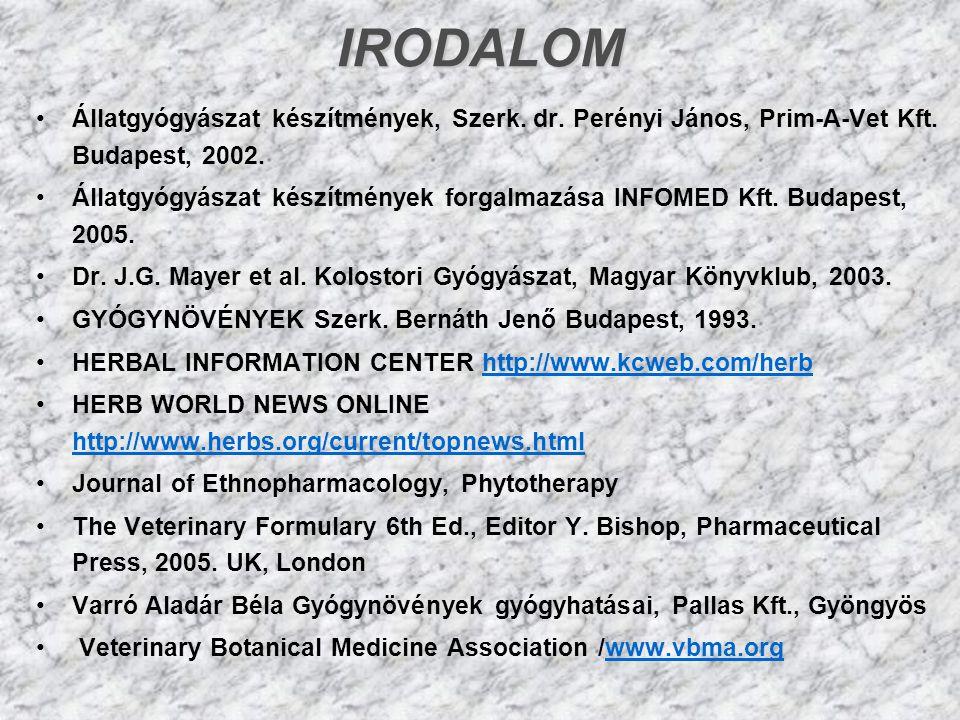 IRODALOM Állatgyógyászat készítmények, Szerk. dr. Perényi János, Prim-A-Vet Kft. Budapest, 2002.