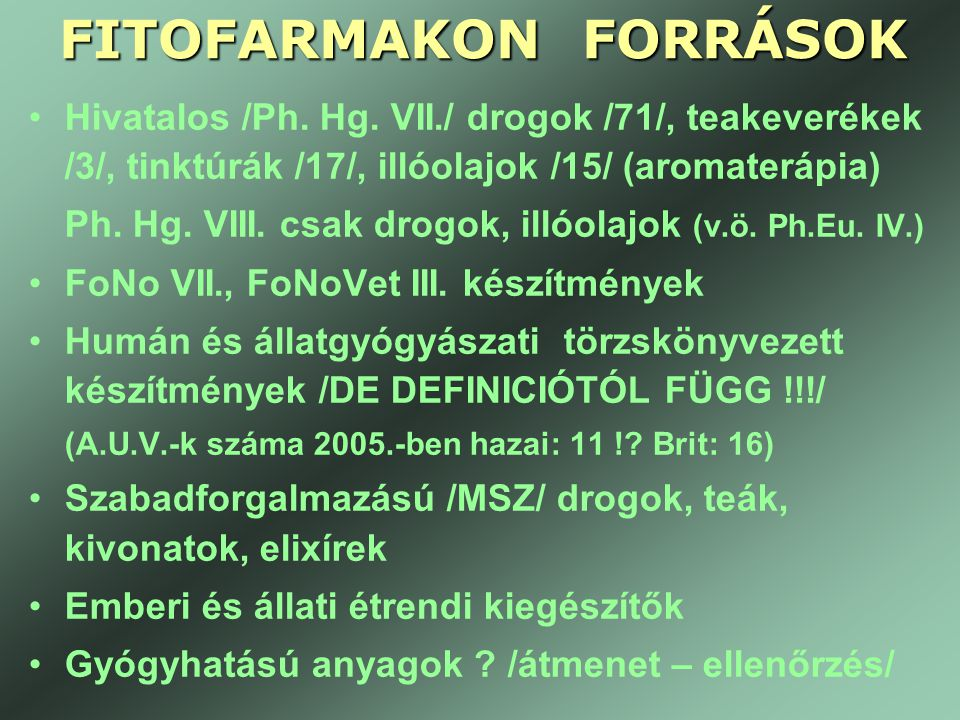 FITOFARMAKON FORRÁSOK