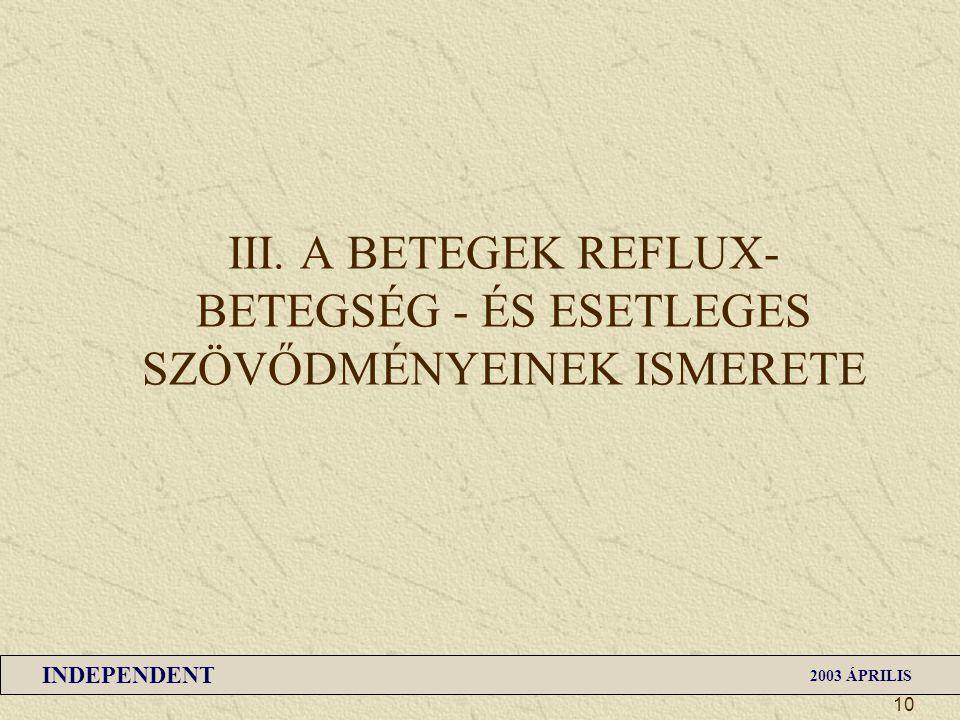 III. A BETEGEK REFLUX-BETEGSÉG - ÉS ESETLEGES SZÖVŐDMÉNYEINEK ISMERETE