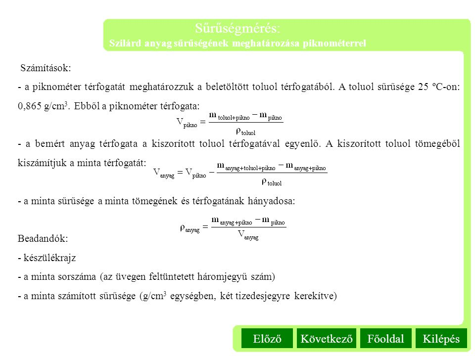 Szilárd anyag sűrűségének meghatározása piknométerrel