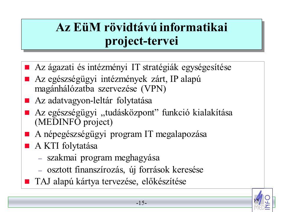 Az EüM rövidtávú informatikai project-tervei