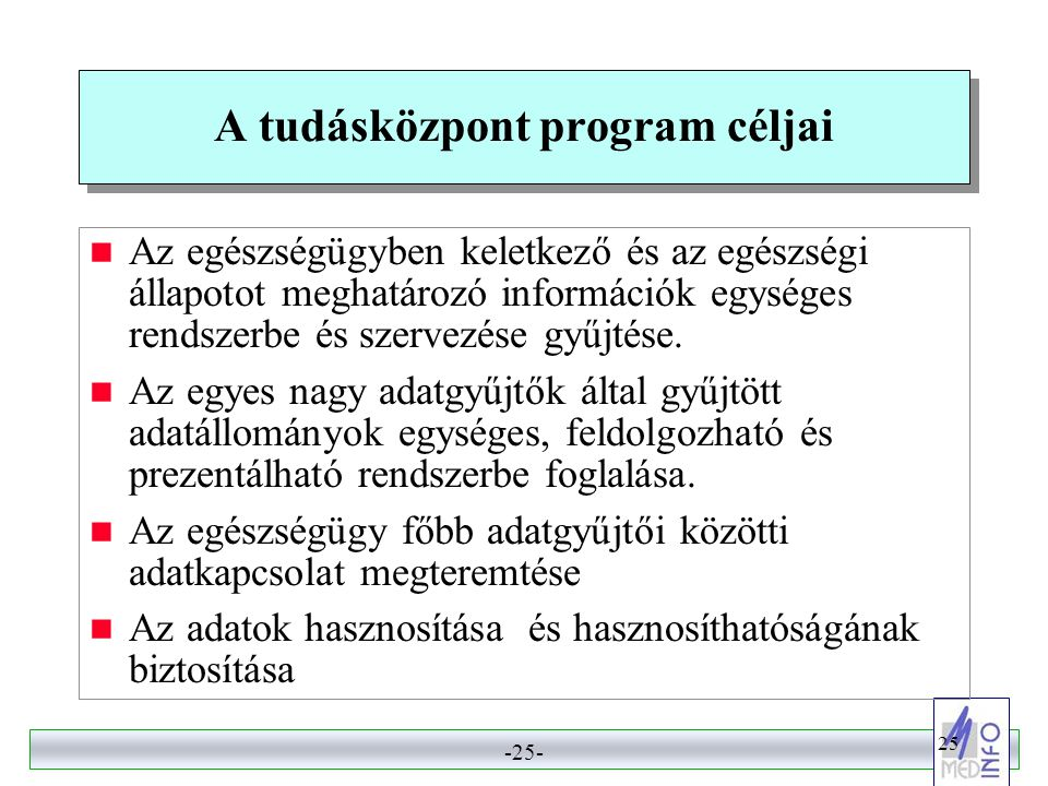 A tudásközpont program céljai