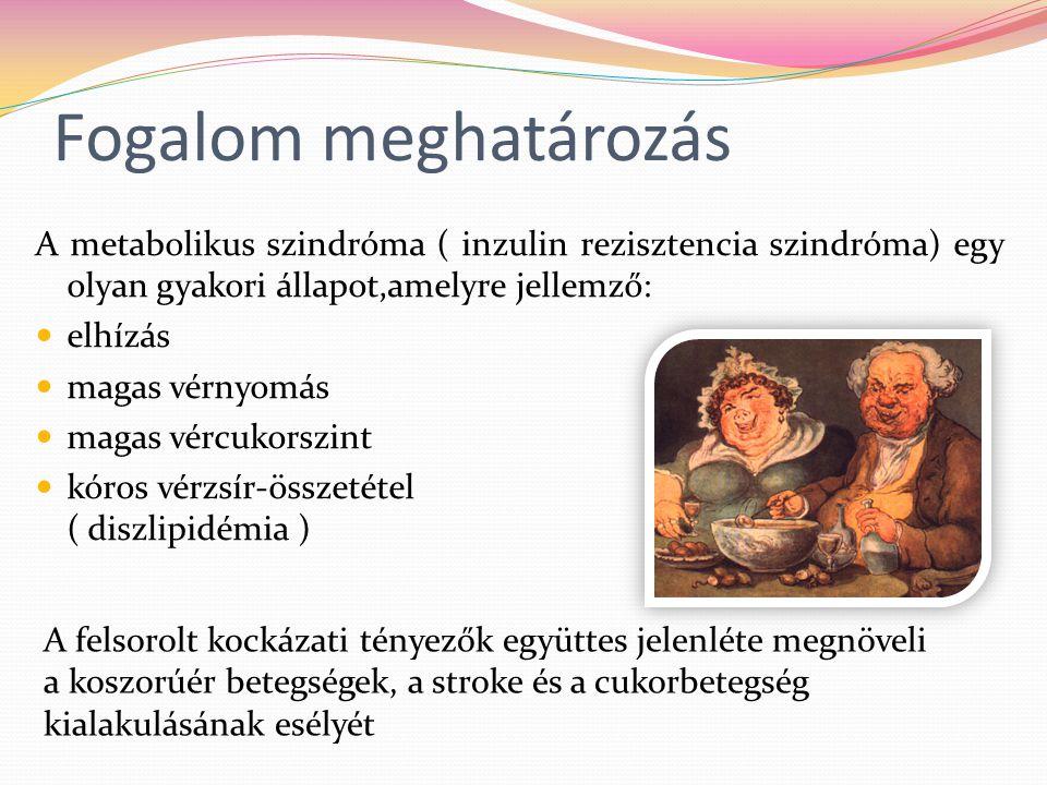 Fogalom meghatározás A metabolikus szindróma ( inzulin rezisztencia szindróma) egy olyan gyakori állapot,amelyre jellemző: