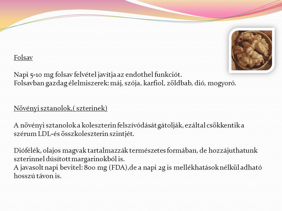 Folsav Napi 5-10 mg folsav felvétel javítja az endothel funkciót. Folsavban gazdag élelmiszerek: máj, szója, karfiol, zöldbab, dió, mogyoró.