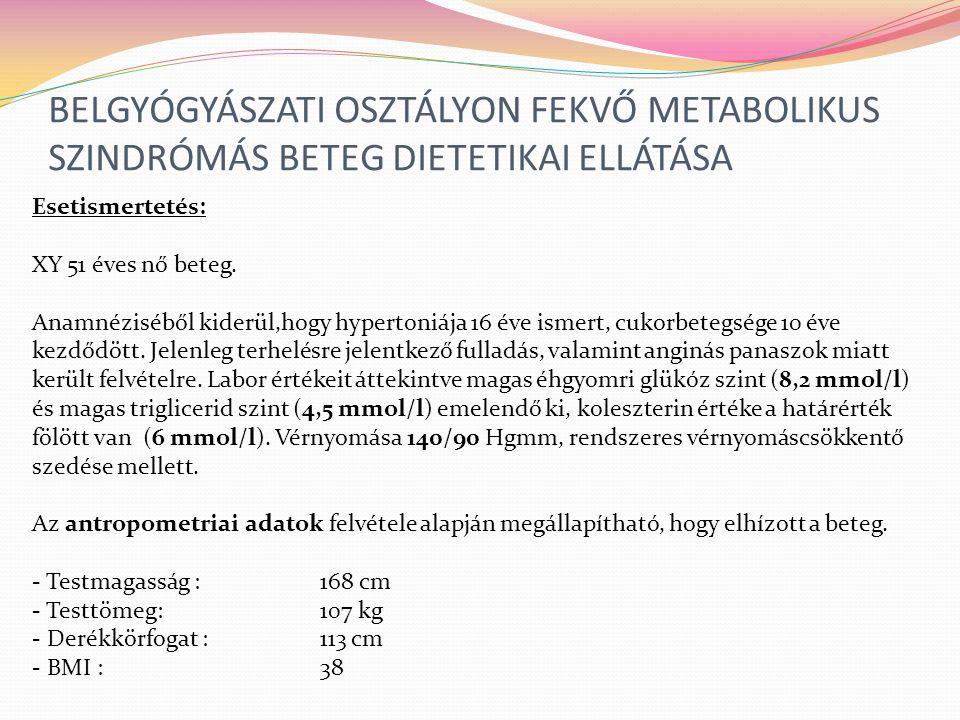 BELGYÓGYÁSZATI OSZTÁLYON FEKVŐ METABOLIKUS SZINDRÓMÁS BETEG DIETETIKAI ELLÁTÁSA
