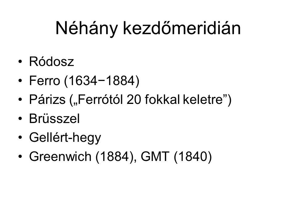 Néhány kezdőmeridián Ródosz Ferro (1634−1884)