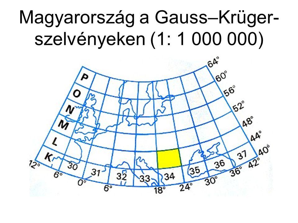 Magyarország a Gauss–Krüger-szelvényeken (1: 1 000 000)