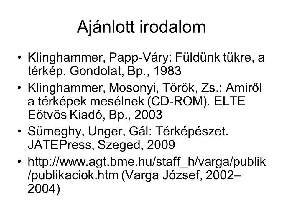 Ajánlott irodalom Klinghammer, Papp-Váry: Füldünk tükre, a térkép. Gondolat, Bp., 1983.