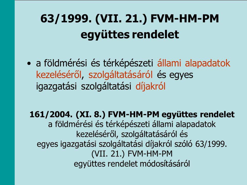 63/1999. (VII. 21.) FVM-HM-PM együttes rendelet