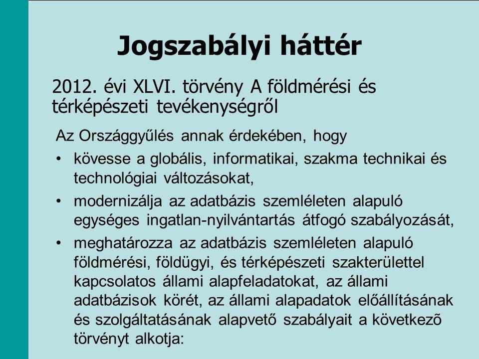 Jogszabályi háttér 2012. évi XLVI. törvény A földmérési és térképészeti tevékenységről. Az Országgyűlés annak érdekében, hogy.
