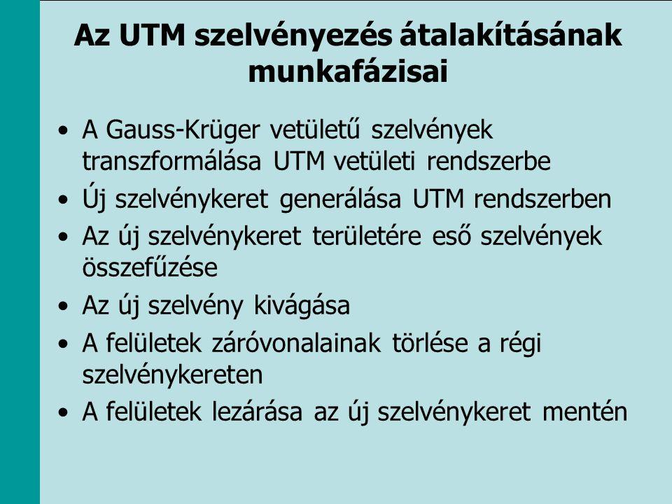 Az UTM szelvényezés átalakításának munkafázisai