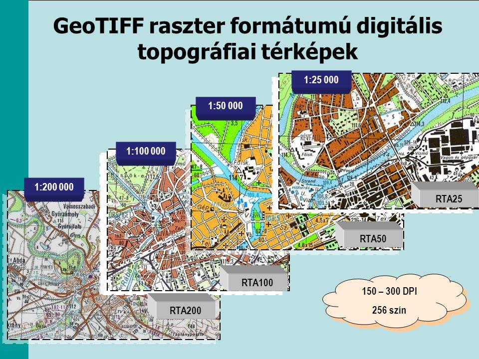 GeoTIFF raszter formátumú digitális topográfiai térképek