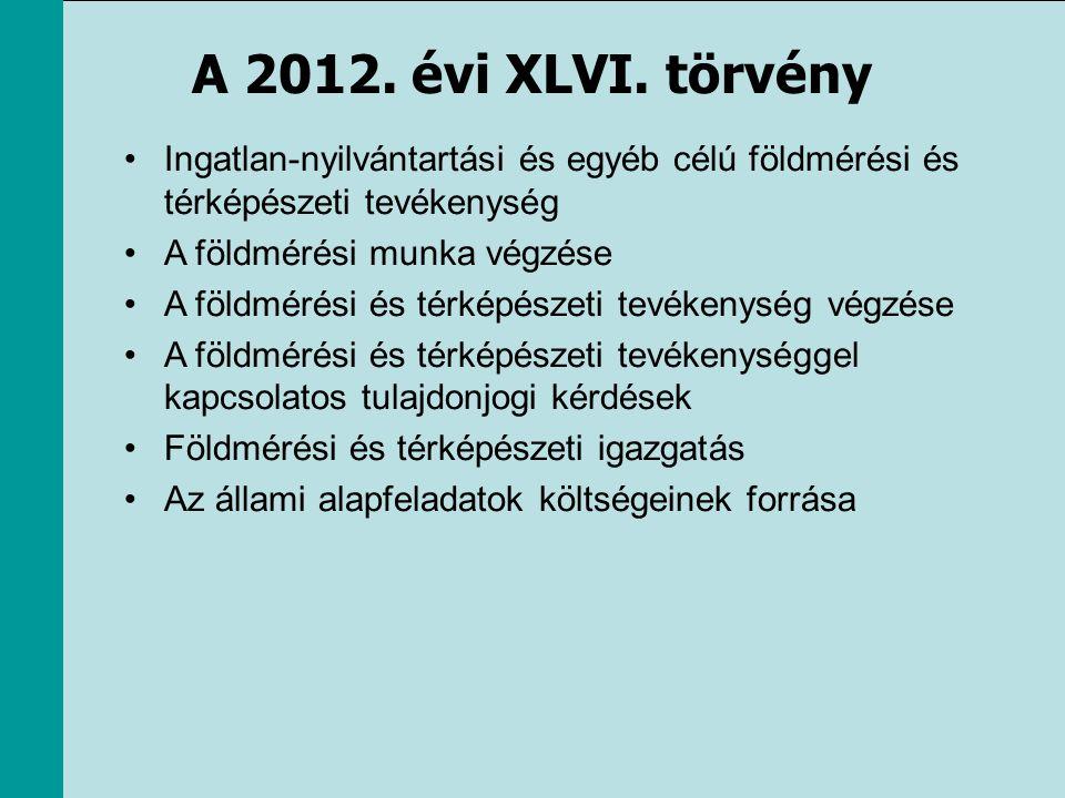 A 2012. évi XLVI. törvény Ingatlan-nyilvántartási és egyéb célú földmérési és térképészeti tevékenység.