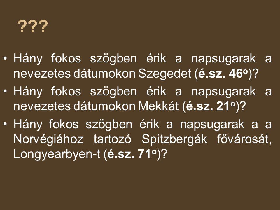 Hány fokos szögben érik a napsugarak a nevezetes dátumokon Szegedet (é.sz. 46o)